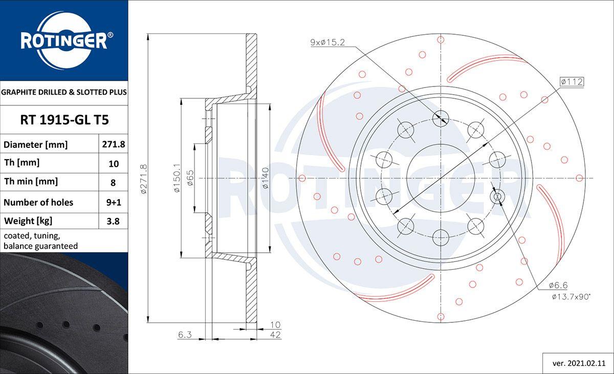 ROTINGER  RT 1915-GL T5 Bremsscheibe Bremsscheibendicke: 10mm, Lochanzahl: 9, Ø: 272mm