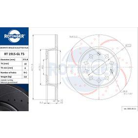 Bremsscheibe Bremsscheibendicke: 10mm, Lochanzahl: 9, Ø: 272mm mit OEM-Nummer 5QD 615 601 A
