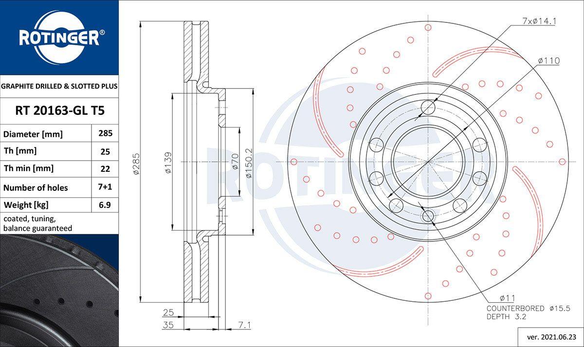 ROTINGER  RT 20163-GL T5 Bremsscheibe Bremsscheibendicke: 25mm, Lochanzahl: 7, Ø: 285mm