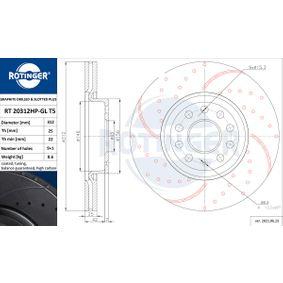 Bremsscheibe Bremsscheibendicke: 25mm, Lochanzahl: 9, Ø: 312mm mit OEM-Nummer 1K0615301D