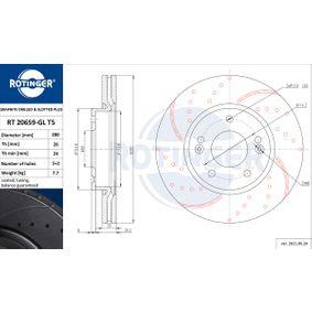 Bremsscheibe Bremsscheibendicke: 26mm, Lochanzahl: 5, Ø: 280mm mit OEM-Nummer 51712 3K000