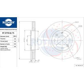 Bremsscheibe Bremsscheibendicke: 22mm, Lochanzahl: 4, Ø: 265,50mm mit OEM-Nummer 45 41 000
