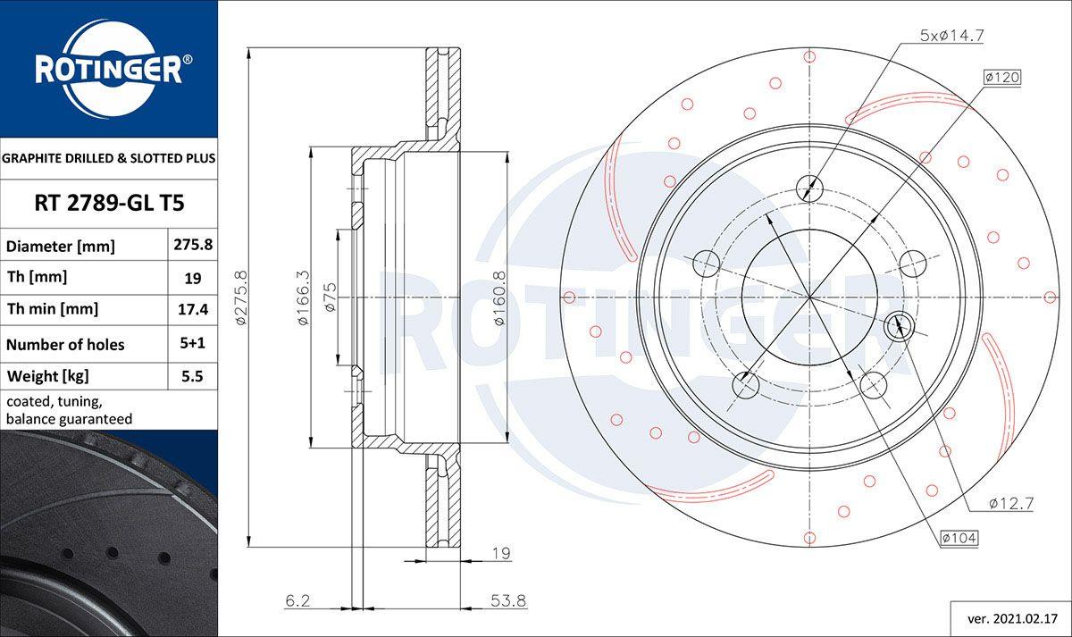 ROTINGER  RT 2789-GL T5 Bremsscheibe Bremsscheibendicke: 19mm, Lochanzahl: 5, Ø: 276mm