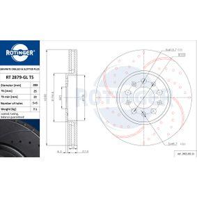 Bremsscheibe Bremsscheibendicke: 25mm, Lochanzahl: 5, Ø: 288mm mit OEM-Nummer 6R0 615 301D