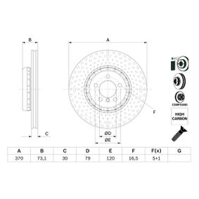 Brake Disc Brake Disc Thickness: 30mm, Num. of holes: 5, Ø: 370mm with OEM Number 3410 6797 606