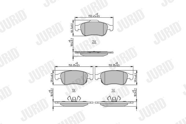 JURID  573766J Bremsbelagsatz, Scheibenbremse Höhe 1: 64,7mm, Höhe 2: 59,2mm, Dicke/Stärke: 18mm