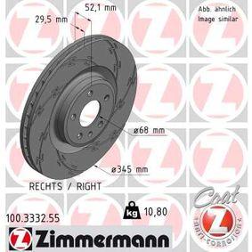 Brake Disc Brake Disc Thickness: 30mm, Rim: 5-Hole, Ø: 345mm with OEM Number 8K0 615 301K