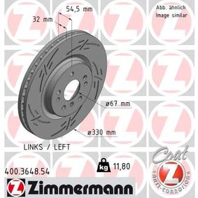 ZIMMERMANN BLACK Z 400.3648.54 Спирачен диск Ø: 330мм