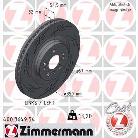 ZIMMERMANN BLACK Z 400.3649.54 Спирачен диск Ø: 350мм