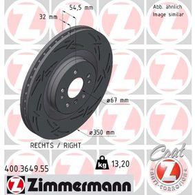 ZIMMERMANN BLACK Z 400.3649.55 Спирачен диск Ø: 350мм