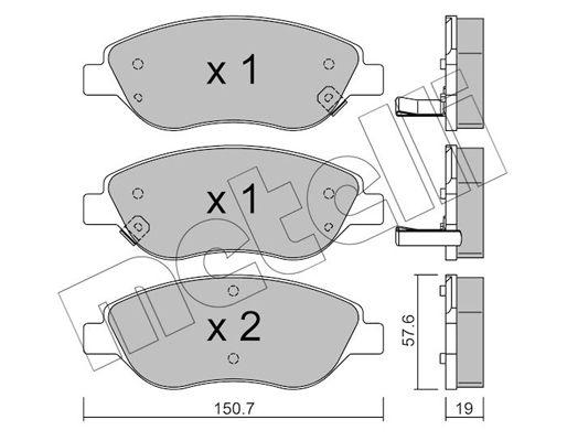 METELLI  22-0577-2 Bremsbelagsatz, Scheibenbremse Dicke/Stärke 1: 19,0mm
