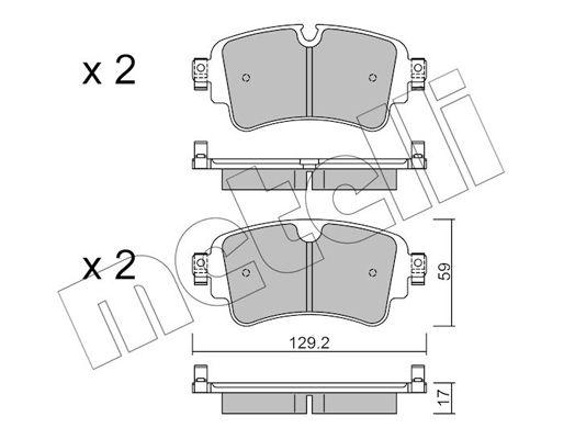 METELLI  22-1129-0 Brake Pad Set, disc brake Thickness 1: 17,0mm