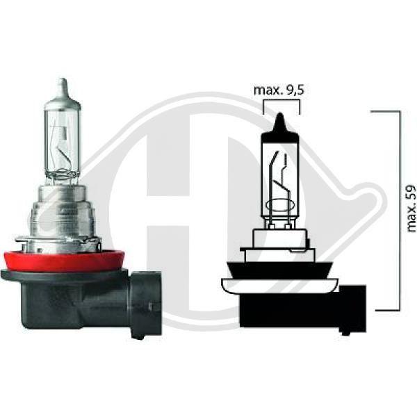 DIEDERICHS  LID10022 Glühlampe, Hauptscheinwerfer