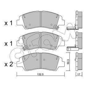 Bremsbelagsatz, Scheibenbremse Dicke/Stärke 1: 17,0mm mit OEM-Nummer 58101-B4A00