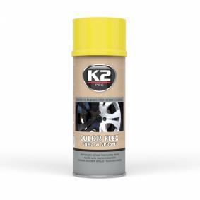 Pinturas automotrices K2 L343ZO para auto (Bote aerosol, amarillo, Caucho, Contenido: 400ml)