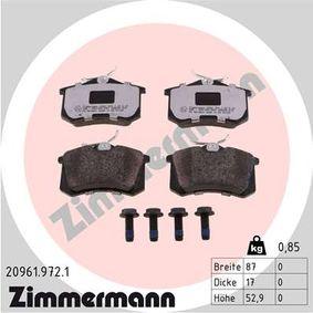 Bremsbelagsatz, Scheibenbremse Breite: 87mm, Höhe: 53mm, Dicke/Stärke: 17mm mit OEM-Nummer 4D0.698.647