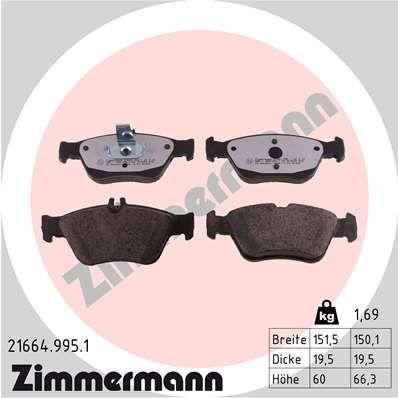 ZIMMERMANN  21664.995.1 Bremsbelagsatz, Scheibenbremse Breite: 151mm, Höhe 1: 60mm, Höhe 2: 66mm, Dicke/Stärke: 20mm