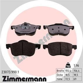Brake Pad Set, disc brake Width 1: 155mm, Width 2 [mm]: 156mm, Height 1: 72mm, Height 2: 69mm, Thickness: 19mm with OEM Number 3064 8386
