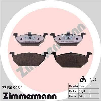 ZIMMERMANN  23130.995.1 Bremsbelagsatz, Scheibenbremse Breite: 146mm, Höhe: 55mm, Dicke/Stärke: 20mm