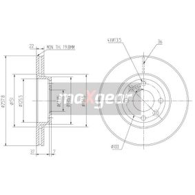 Brake Disc Brake Disc Thickness: 22mm, Num. of holes: 4, Ø: 258mm with OEM Number 402061200R-