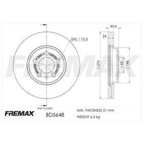 Bremsscheibe Bremsscheibendicke: 24mm, Ø: 276mm mit OEM-Nummer 2Q0615301H