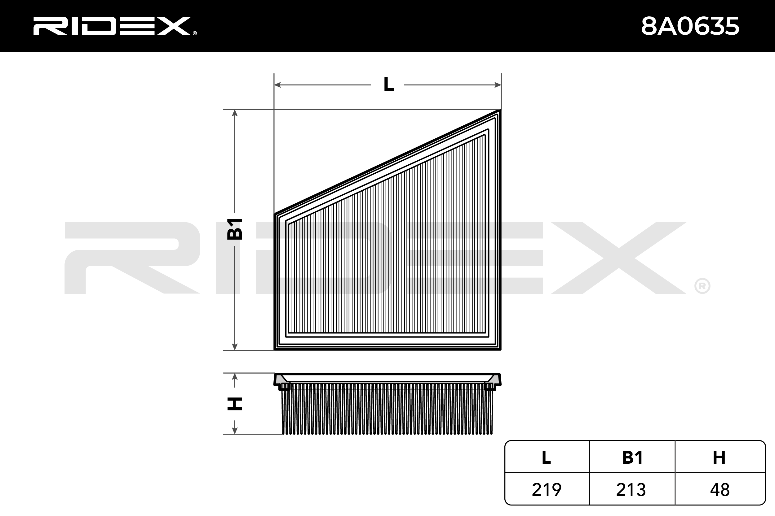 Air Filter RIDEX 8A0635 4059191722044