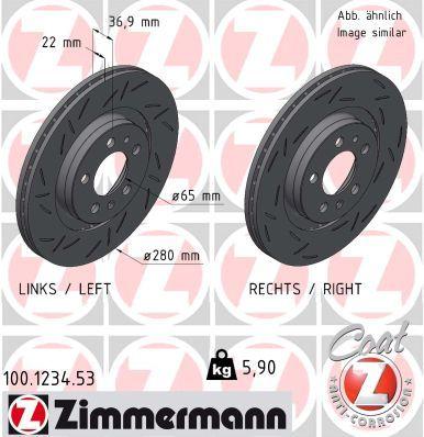 ZIMMERMANN BLACK Z 100.1234.53 Bremsscheibe Bremsscheibendicke: 22mm, Lochanzahl: 5, Ø: 280mm