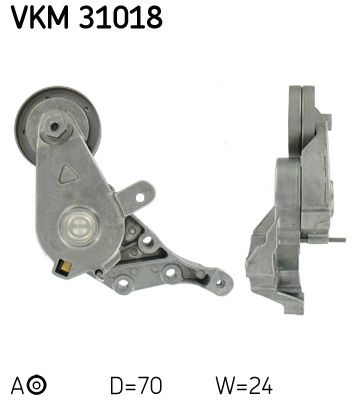 SKF  VKM 31018 Spannrolle, Keilrippenriemen Ø: 70mm, Breite: 24mm