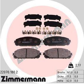 Bremsbelagsatz, Scheibenbremse Breite: 167mm, Höhe: 62mm, Dicke/Stärke: 18mm mit OEM-Nummer 68212327AB