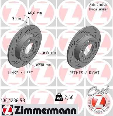 ZIMMERMANN BLACK Z 100.1236.53 Bremsscheibe Bremsscheibendicke: 9mm, Felge: 5-loch, Ø: 230mm