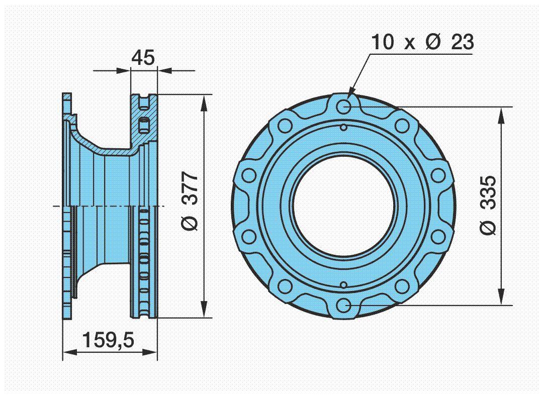 BPW  03.088.34.04.7 Bremsscheibe Bremsscheibendicke: 45mm, Lochanzahl: 10, Ø: 377mm, Ø: 377mm