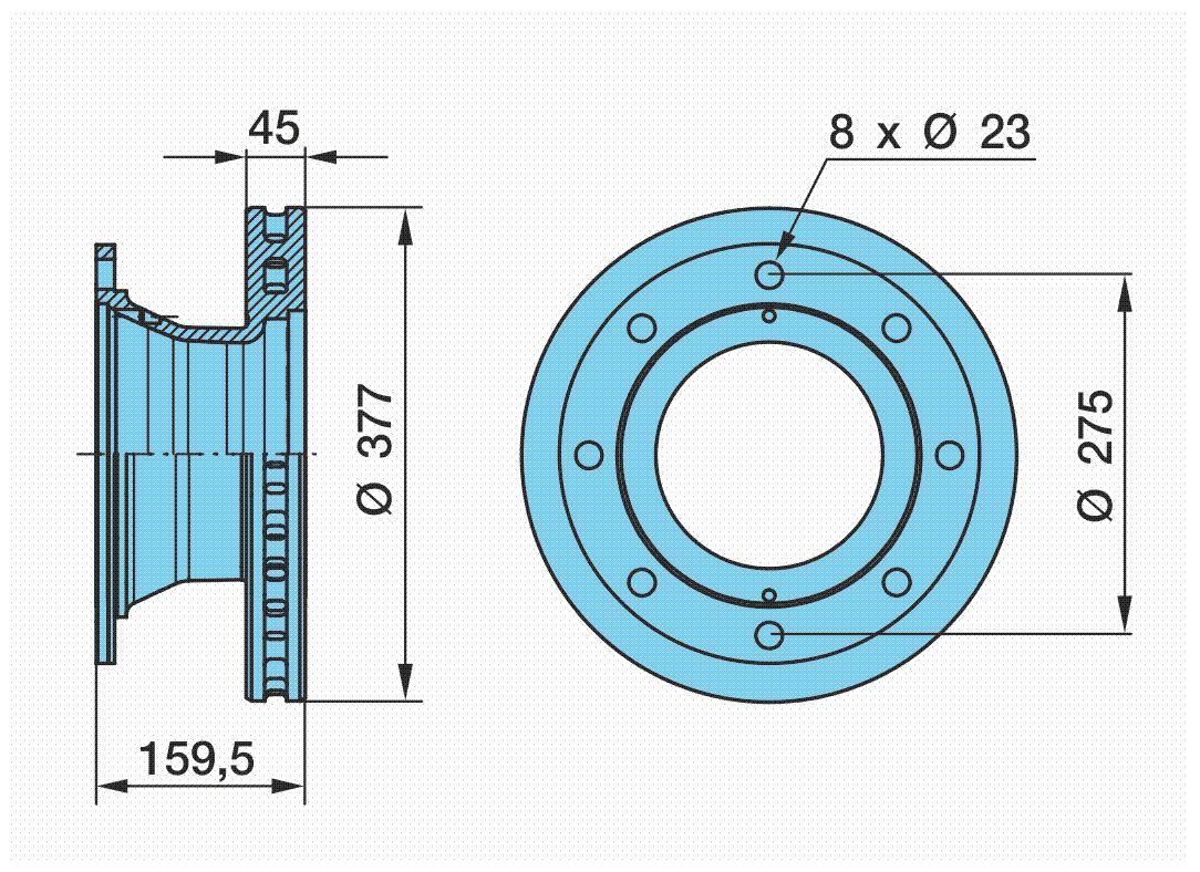 BPW  03.088.34.01.7 Bremsscheibe Bremsscheibendicke: 45mm, Lochanzahl: 8, Ø: 377mm, Ø: 377mm