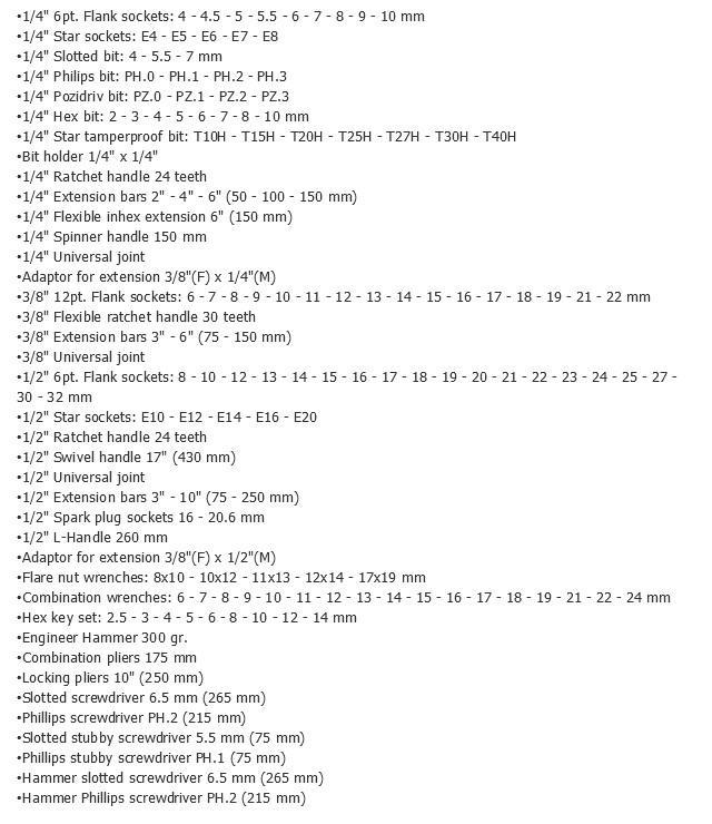 Kit de herramientas FORCE 41421 evaluación