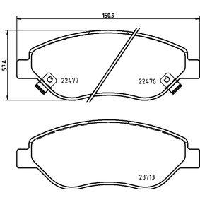 HELLA  8DB 355 025-631 Bremsbelagsatz, Scheibenbremse Breite: 150,9mm, Höhe: 57,4mm, Dicke/Stärke: 19,4mm