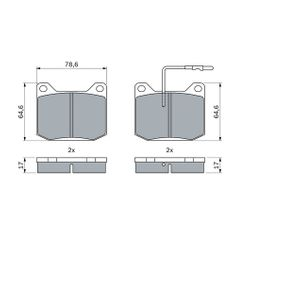 Brake Pad Set, disc brake Width: 78,6mm, Height: 64,6mm, Thickness: 17mm with OEM Number 13675000