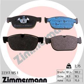 Bremsbelagsatz, Scheibenbremse Breite 1: 180,2mm, Breite 2: 181,4mm, Höhe: 75,0mm, Dicke/Stärke: 18,5mm mit OEM-Nummer 31499906