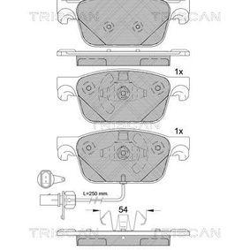 Bremsbelagsatz, Scheibenbremse Breite: 155,1mm, Höhe: 63,9mm, Dicke/Stärke: 17mm mit OEM-Nummer 8W0698151AG