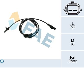 FAE  78437 Sensor, Raddrehzahl Pol-Anzahl: 2-polig