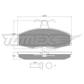 Bremsbelagsatz, Scheibenbremse Breite: 114,8mm, Höhe: 60mm, Dicke/Stärke: 16mm mit OEM-Nummer 004532248