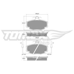 Bremsbelagsatz, Scheibenbremse Breite: 100mm, Höhe: 63,5mm, Dicke/Stärke: 18mm mit OEM-Nummer 60250-71042