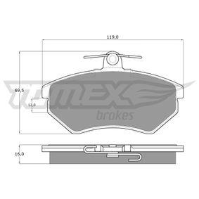 Bremsbelagsatz, Scheibenbremse Breite: 119mm, Höhe: 69,5mm, Dicke/Stärke: 16mm mit OEM-Nummer 357 698 151 D.