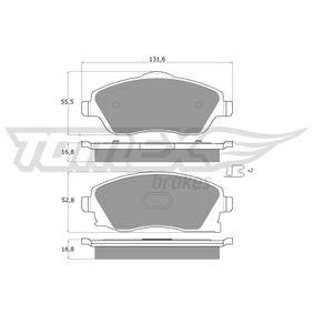 Bremsbelagsatz, Scheibenbremse Breite: 131,6mm, Höhe 1: 52,8mm, Höhe 2: 55,5mm, Dicke/Stärke: 16,8mm mit OEM-Nummer 1605964