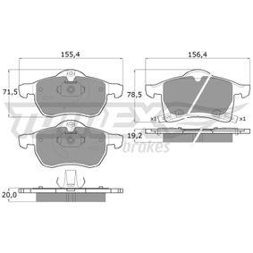 Комплект спирачно феродо, дискови спирачки ширина 1: 156,4мм, ширина 2: 155,4мм, височина 1: 78,5мм, височина 2: 71,5мм, дебелина 1: 19,2мм, дебелина 2: 20мм с ОЕМ-номер 16 05 996