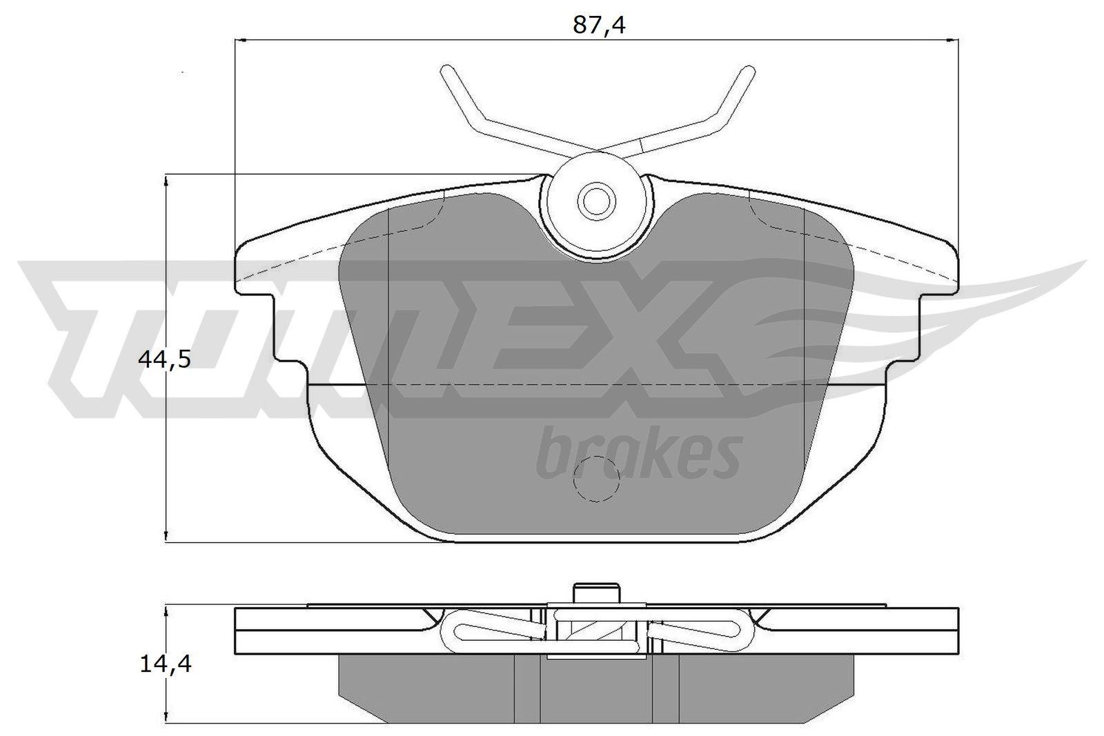 TOMEX brakes  TX 12-43 Bremsbelagsatz, Scheibenbremse Breite: 87,4mm, Höhe: 44,5mm, Dicke/Stärke: 14,4mm