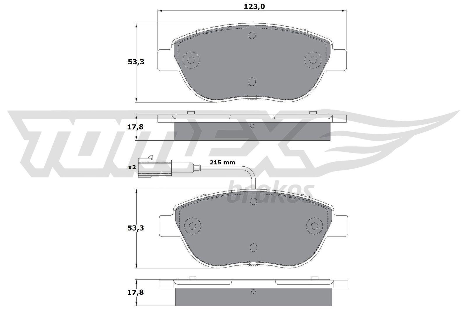 Bremsbeläge TX 12-482 TOMEX brakes 23706 in Original Qualität