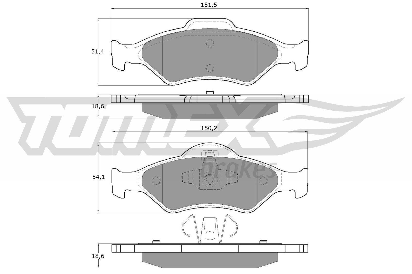 TOMEX brakes  TX 12-53 Bremsbelagsatz, Scheibenbremse Breite 1: 150,2mm, Breite 2: 151,5mm, Höhe 1: 54,1mm, Höhe 2: 51,4mm, Dicke/Stärke: 18,6mm