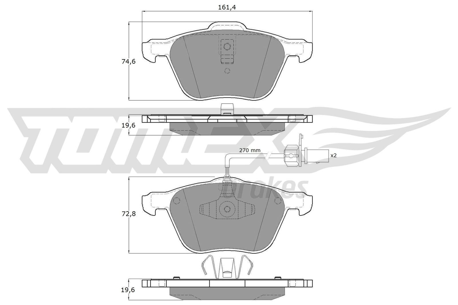 TOMEX brakes  TX 12-56 Bremsbelagsatz, Scheibenbremse Breite: 161,4mm, Höhe 1: 74,6mm, Höhe 2: 72,8mm, Dicke/Stärke: 19,6mm