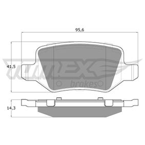 Brake Pad Set, disc brake Width: 95,6mm, Height: 41,5mm, Thickness: 14,3mm with OEM Number A 168 420 04 20
