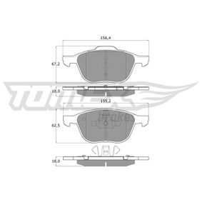 Bremsbelagsatz, Scheibenbremse Höhe 1: 62,5mm, Höhe 2: 67,2mm, Dicke/Stärke: 18mm mit OEM-Nummer AV612K0-21BB