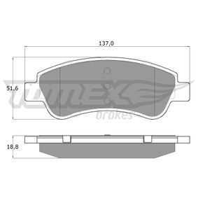 Brake Pad Set, disc brake Height: 51,6mm, Thickness: 18,8mm with OEM Number 4252-40